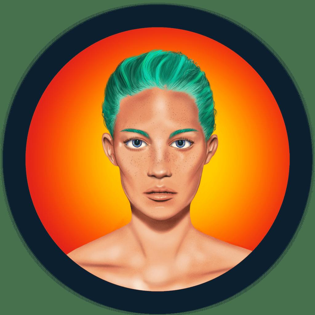 Frau mit türkisen Haaren